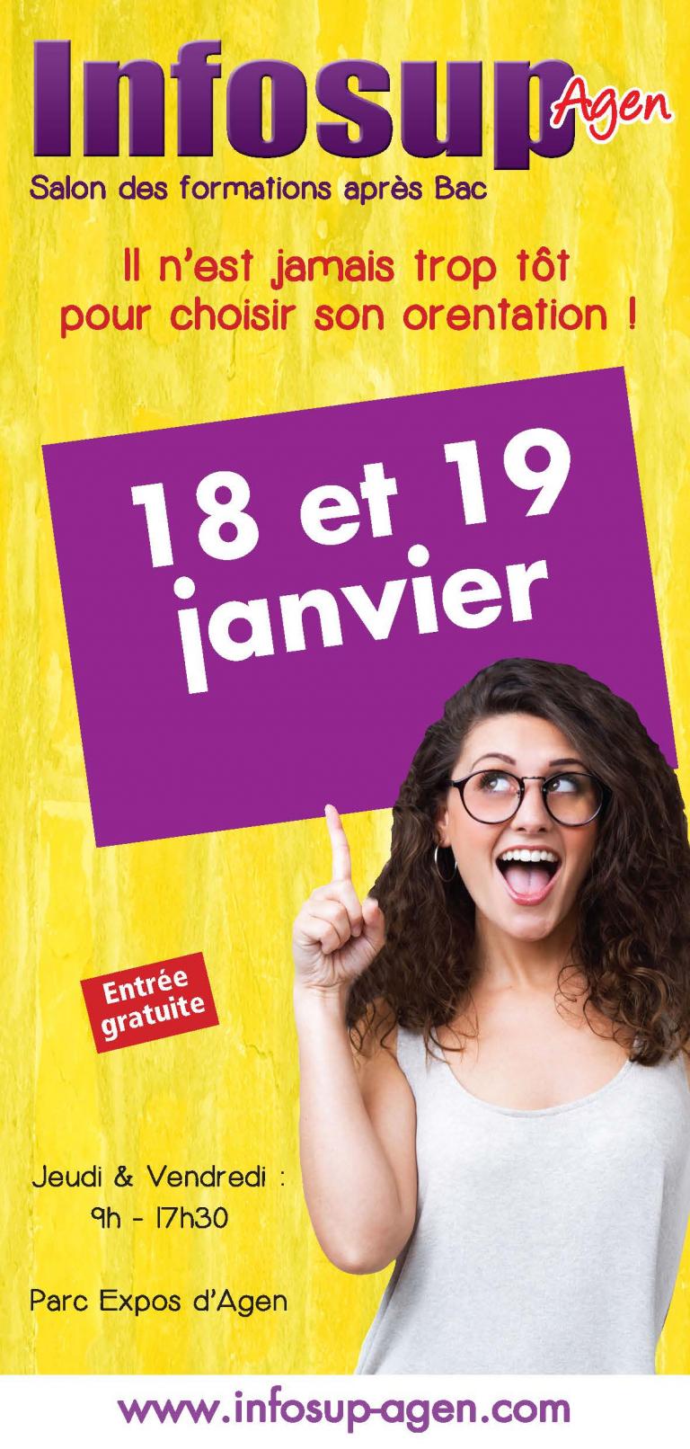 Infosup AGEN – Jeudi 18 et vendredi 19 janvier 2018 de 9h à 17h30 Parc des Expos