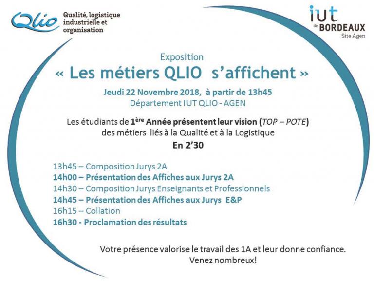 «Les métiers QLIO s'affichent» 22/11/18 à partir de 13h45 Promotion QLIO 1A 18-19