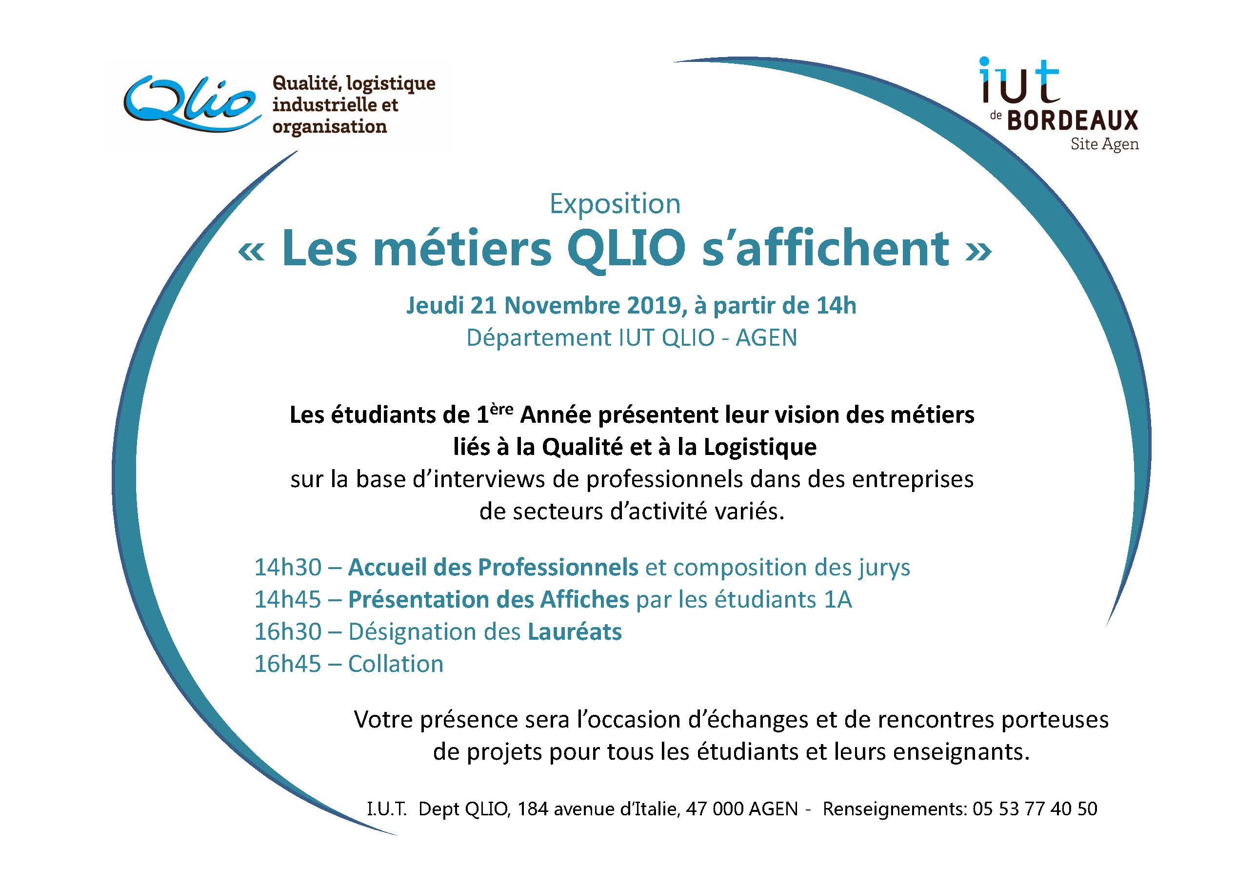 «Les métiers QLIO s'affichent» 21/11/2019