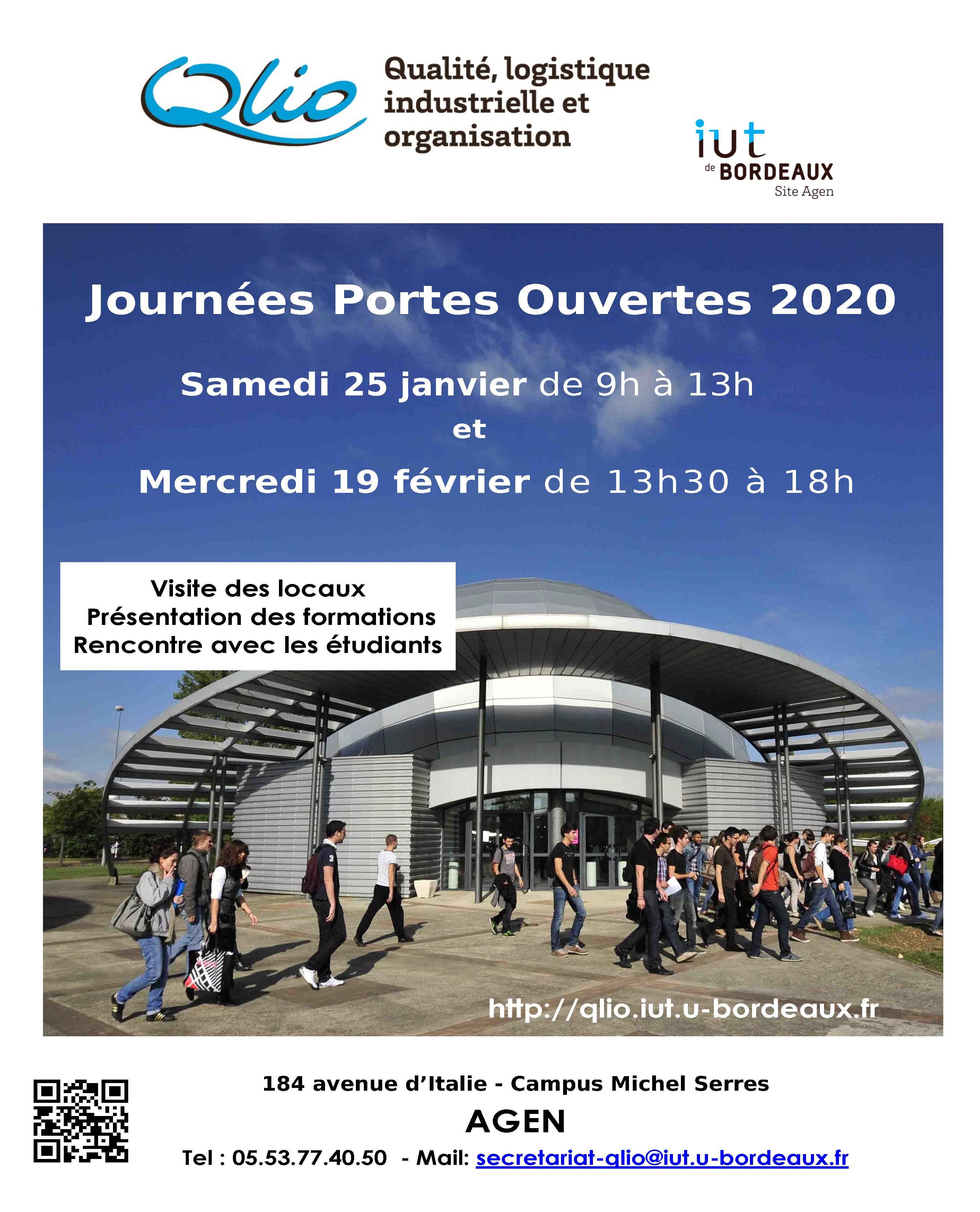 Portes Ouvertes IUT QLIO AGEN : 19/02/2020 de 13h30 à 18h